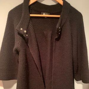 Black Knit Cardigan Poncho